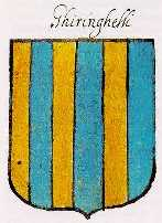The blazon is paly six or and azure